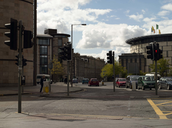 View down Bread Street, showing offices and EICC