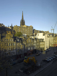 View of Grassmarket and Hub from the Apex City Hotel