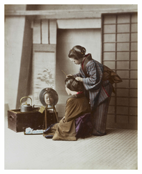 Hairdresser with her subject