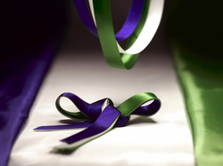 Ribbons and silk in the colours of the WSPU