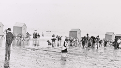 Portobello Beach showing bathing machines