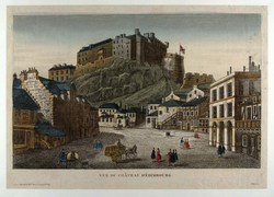 Vue du Chateau d' Edimbourg (from the Grassmarket)