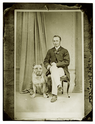 Copy of a photograph of a man with dog